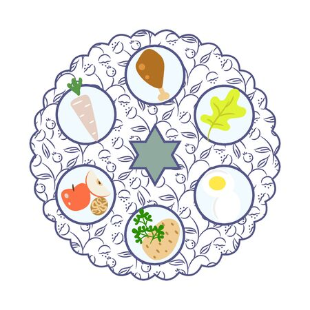 Passover seder plate with food cartoon vector illustration. Traditional jewish holiday set flat cartoon style.