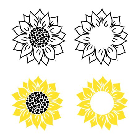 Sunflower vector illustration on a white background. Flower head flat style silhouette.