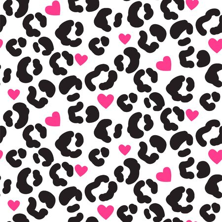 Leopard print pattern with spots and hearts. Black and white leopard abstract skin print vector.