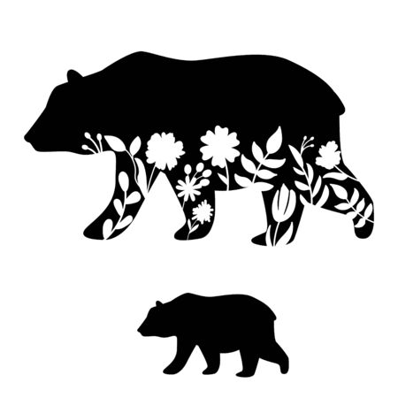 Bear silhouette vector illustration. Floral cutout mammal vector icon for scrapbook decor and iron on vinyl print. Vettoriali