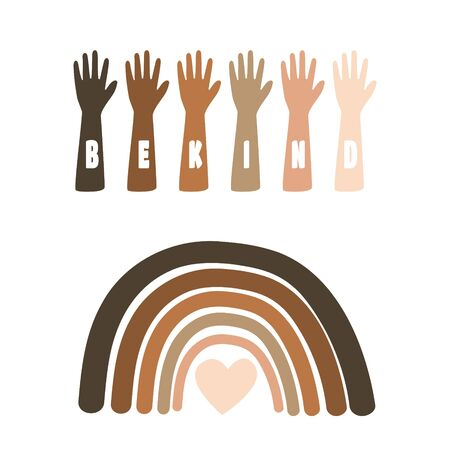 Black Lives Matter Illustration with raising hands and rainbow equality symbol vector. Be kind slogan. Vettoriali