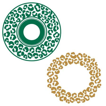 Leopard stains round frame ornament. Green and gold cheetah spots circle border vector. 일러스트