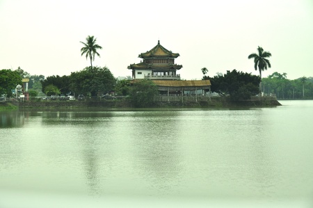 Chengching Lake is the largest lake in the Kaohsiung area. Dear Moon Tower is one of most favored attractions-Kaohsiung, Taiwan