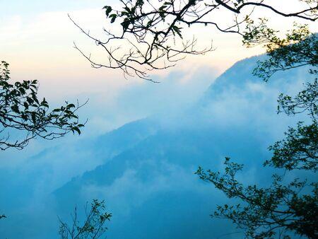 Hills enshrouded in mist