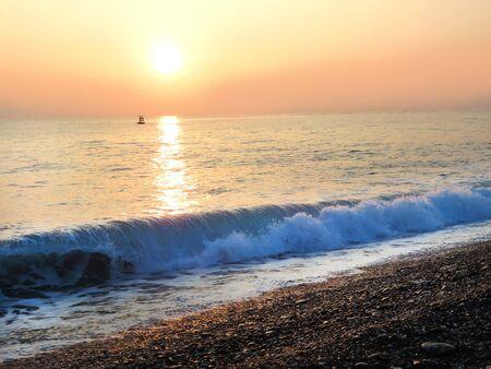 Beautiful Chihsingtan (Seven Star Lake) beach Sunrise Stock Photo