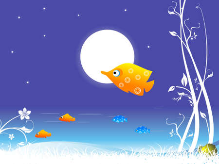 moon fish: fish and moon with creeper on abstract background Stock Photo