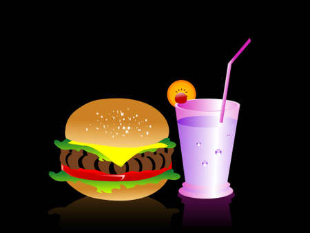 burger and drink on dark background   photo