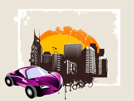 car and buildings on abstract background   photo