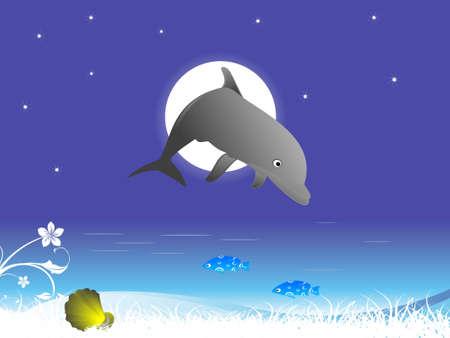 swiming: dolphin swiming on circular background
