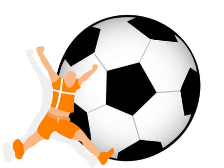soccer player over football   photo