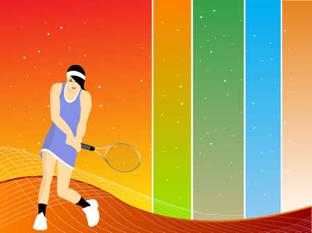 female tennis player on striped background   photo