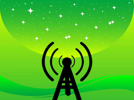 stary: antenna tower on stary gradient background