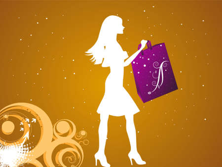 female shopper on dotted background   photo