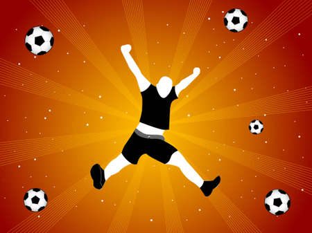 happy soccer player on sunburst background   photo