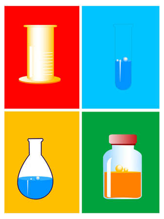 syrup,test-tube and beakers Stock Photo - 3185312