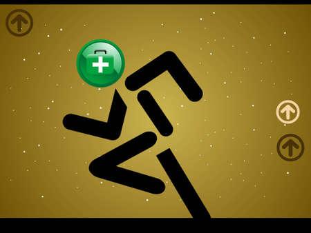 firstaid: cross heade stick figure   Stock Photo