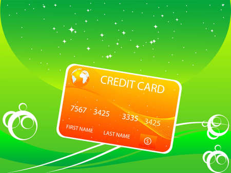 mastercard: credit card with swirls on curvy gradient backgroundrn Stock Photo