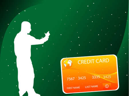 mastercard: man and credit card on dotted backgroundrn