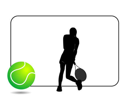tennis ball and player on isolated background   photo
