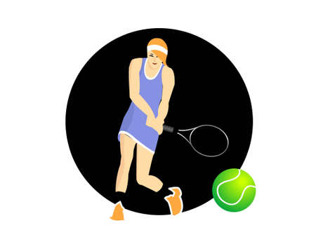 woman tennis on circular background     photo