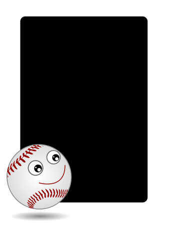 outfield: smiling baseball on dark background