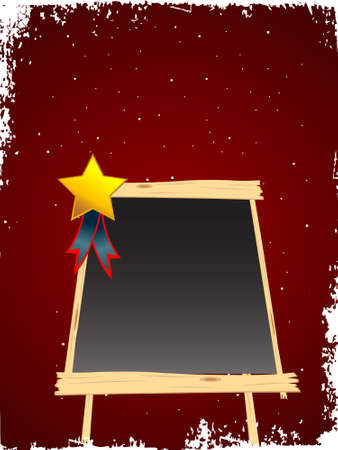 blackboard with medal on dotted background   photo