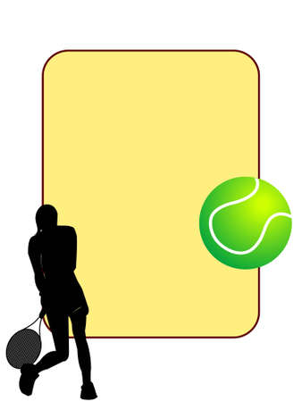 tennis player with ball on text template   photo