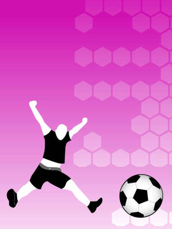 soccer player with ball on hexagonal background   photo