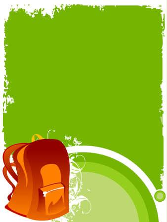 sac d ecole: school bag on floral grunge     Banque d'images
