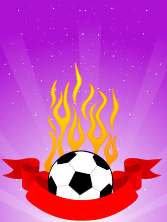fiery soccer on dotted background   photo