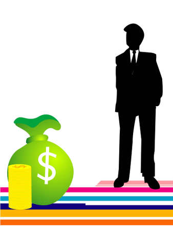 money bag and man on isolated background   photo