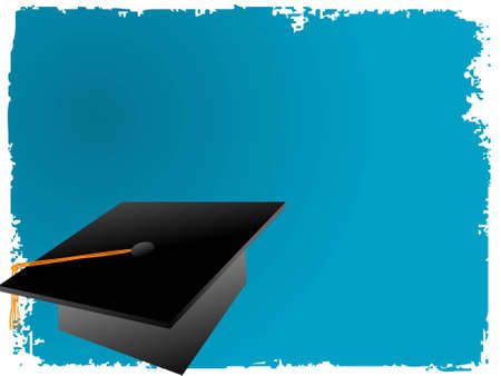 high hat: graduation cap on abstract background
