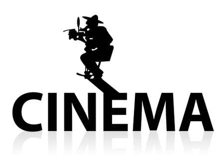 camera man on crane on isolated background     photo