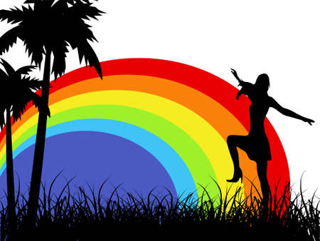 female dancing near trees over rainbow   photo