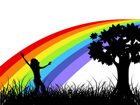 girl enjoying near tree with rainbow on background       photo