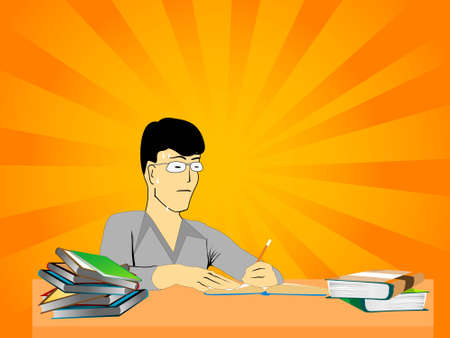 student studing on table   photo