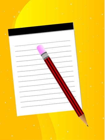 notepad and pencil on gradient background  Stock Photo - 3204552