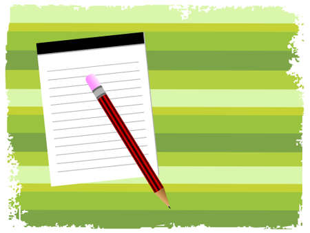 notepad with pencil on striped background  Stock Photo - 3204485