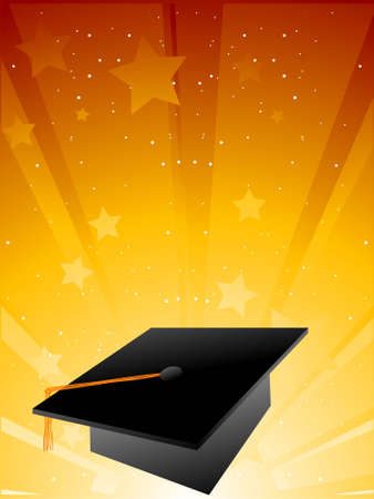 graduation background: graduation cap on sunburst background