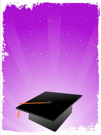 graduation cap on gradient sunburst background     photo