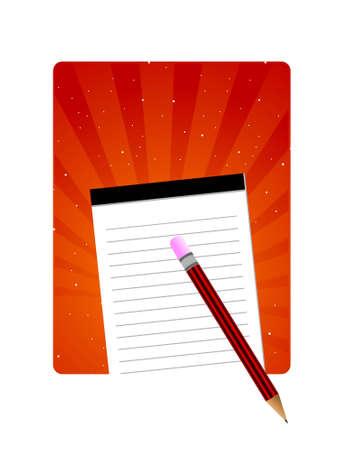 notepad and pencil on sunburst background Stock Photo - 3204401