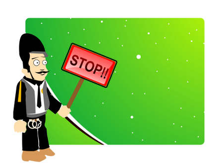 traffic police with stop board on gradient background       photo