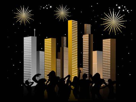 excitement: people celebrating near buildings in stary night