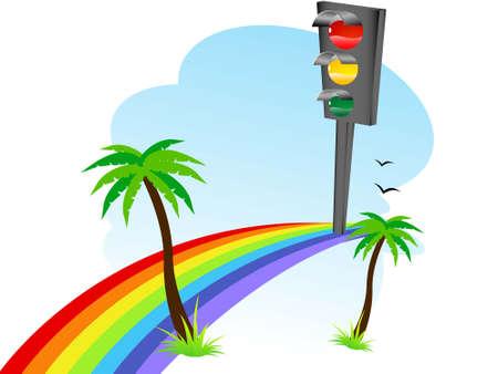 traffic signal on rainbow   photo