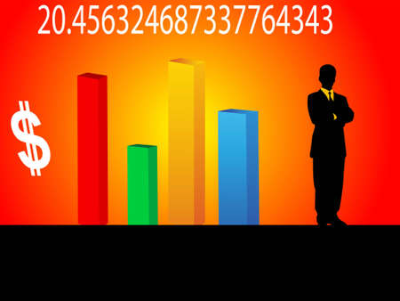 man with graph on gradient background     photo
