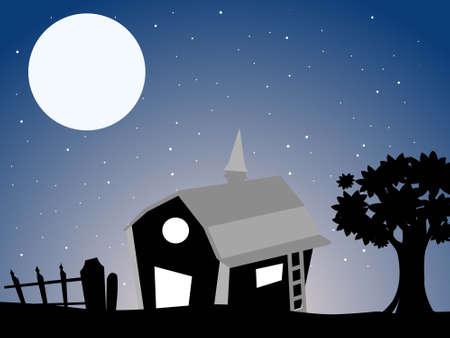 stary: hut near tree in stary night