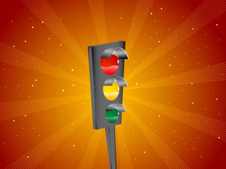 road signal on sunburst background   photo
