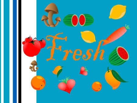 fresh fruits on abstract background
