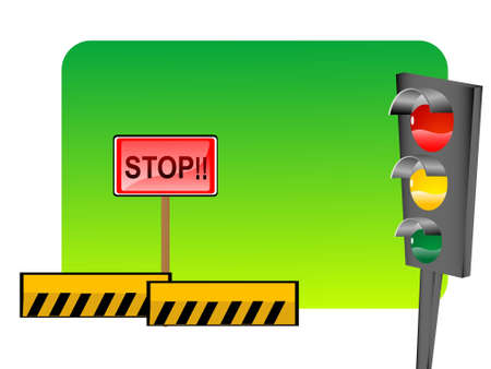 signal board and hazard sign on gradient background   photo