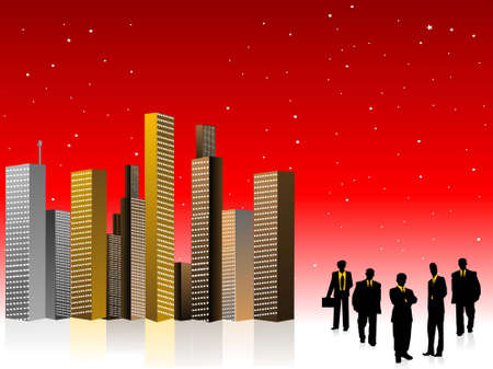 corporate men with cityscape on gradient dotted background     photo